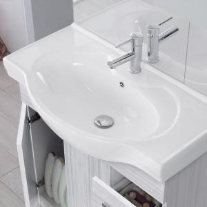 Mobile Bagno in legno grigio L. 82.5 cm con due ante, due cassetti e specchiera con pensile e luci