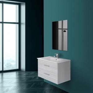 Mobile bagno sospeso salvaspazio L.81 cm in legno grigio con specchio