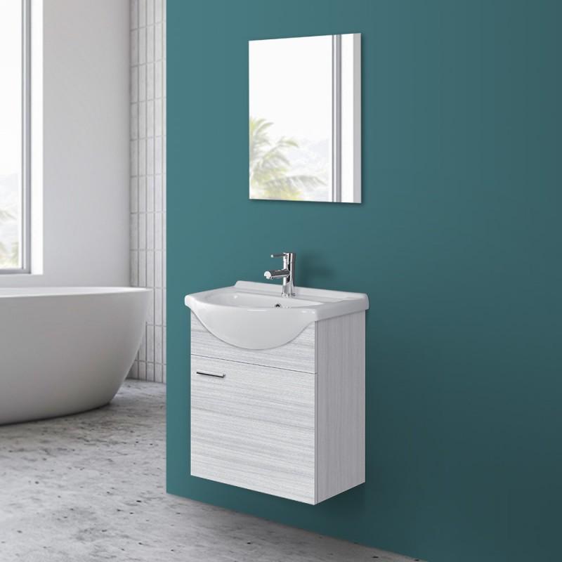 Mobile Bagno Sospeso 56 in legno grigio con con lavabo e specchio