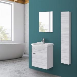 Mobile bagno salvaspazio sospeso in legno grigio L.56 1 anta