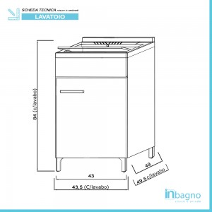 Lavatoio interno 1 anta vasca in resina e asse lavapanni
