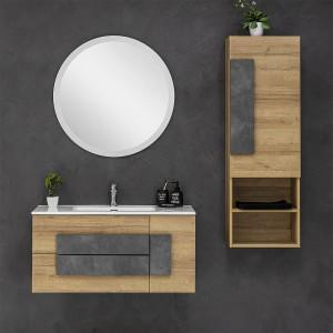 Mobile Bagno Sospeso Moderno Legno Rovere 100x47 Cm Completo Di Specchio Tondo
