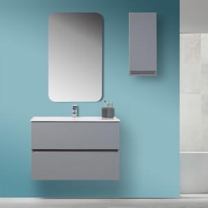 Mobile Bagno Moderno Sospeso 90x47 Grigio Pastello con Specchio Feridras - 1