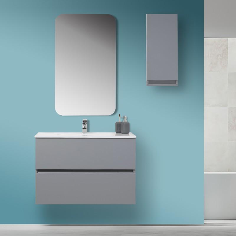Mobile bagno moderno sospeso 90x47 grigio pastello con specchio for Bagno moderno grigio