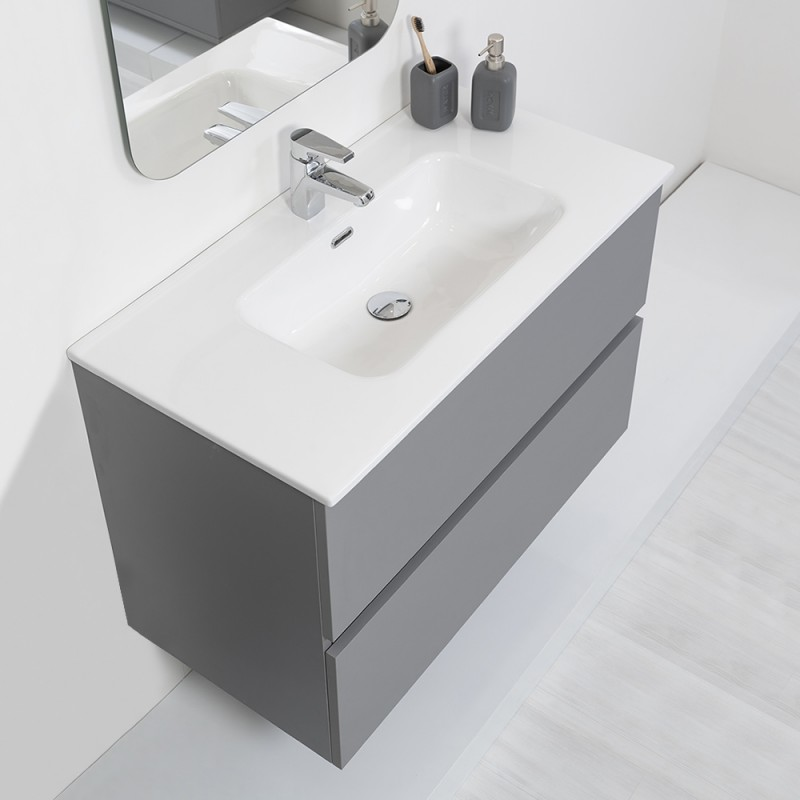 Mobile Bagno Moderno Sospeso 90x47 Grigio Pastello Con Specchio