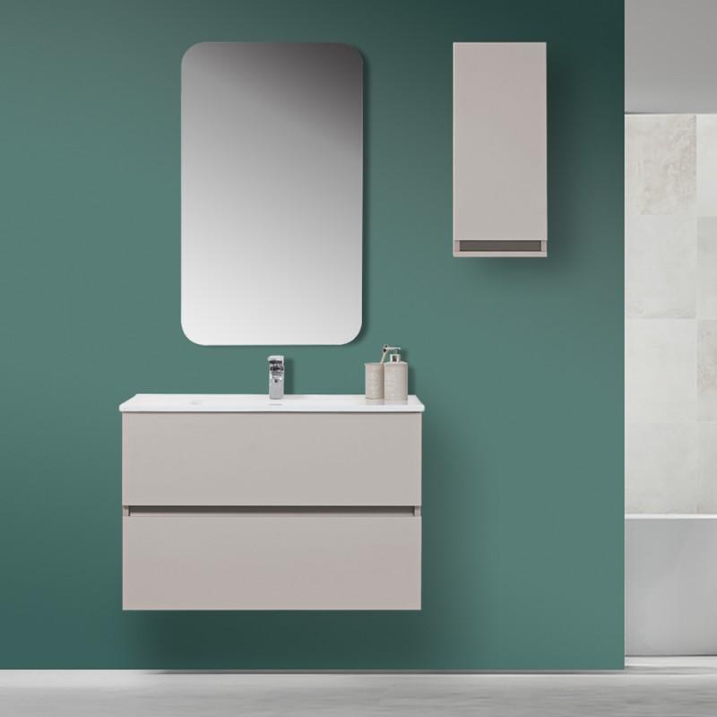 Mobile Bagno Sospeso Tortora Pastello 90x47 Arredo Moderno con Specchio