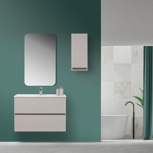 Mobile Bagno Sospeso Tortora Pastello 90x47 Arredo Moderno con Specchio Feridras - 2