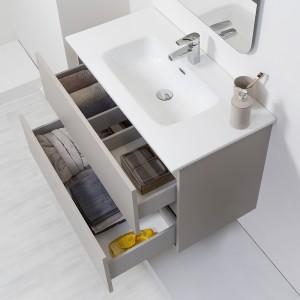 Mobile Bagno Sospeso Tortora Pastello 90x47 Arredo Moderno con Specchio Feridras - 3
