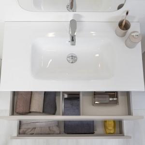 Mobile Bagno Sospeso Tortora Pastello 90x47 Arredo Moderno con Specchio Feridras - 4