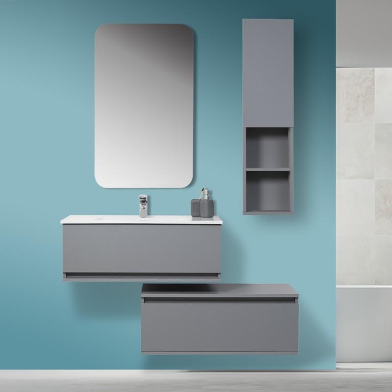 Arredo bagno sospeso pastello grigio 90x47 con specchio for Arredo bagno sospeso