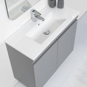 composizione bagno salvaspazio grigio completa di specchio