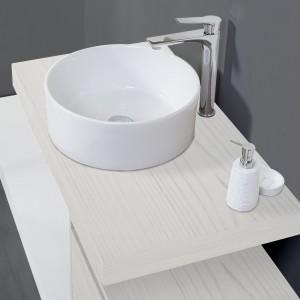 Composizione Bagno Lavabo con Ciotola 90 cm Effetto Legno Pino Bianco