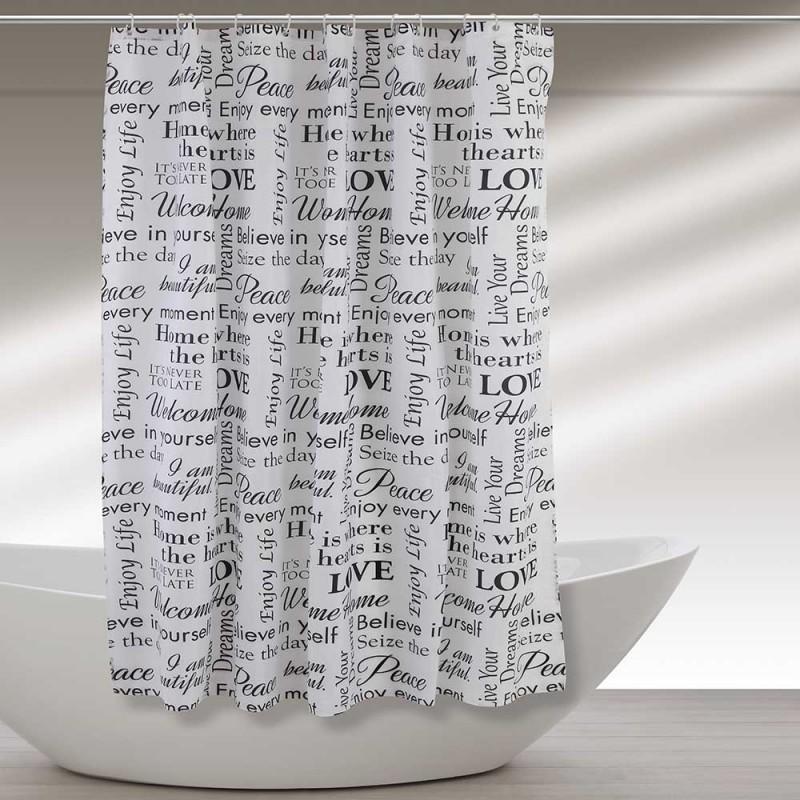 Tenda Doccia Lavabile In Poliestere 180 X 200h cm con Scritte