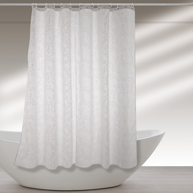 Tenda Doccia Lavabile In Poliestere 180 X 200h Cm Bianco A Fantasia
