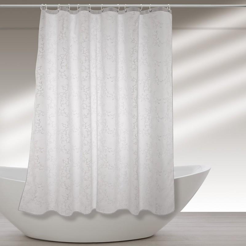 Tenda Doccia Lavabile In Poliestere 240 X 200h Cm Bianco A Fantasia