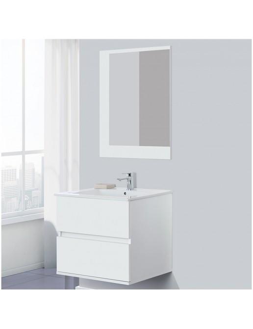 Mobile Bagno Moderno Bianco 60 cm Sospeso con 2 Cassetti e Specchio