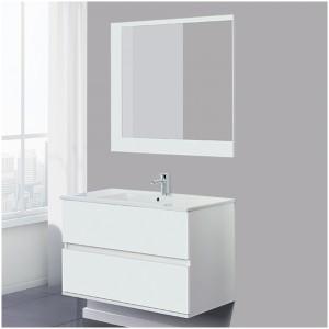 Composizione Bagno Sospeso Bianco Lucido 90x47x57 h. Completo di Specchio
