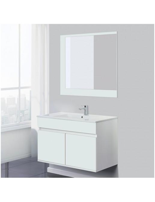 Mobile Sospeso da Bagno 2 Ante Bianco Lucido 90 cm Completo di Specchio