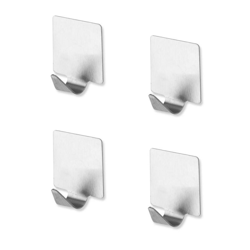 Set Appendini Adesivi Quadrati in Acciaio Satinato 4 Pezzi