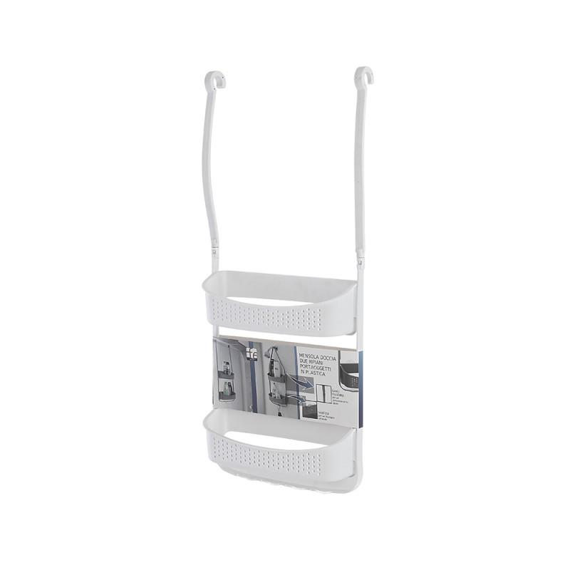 Mensole per doccia 2 ripiani in plastica 32 cm con ganci colore bianco