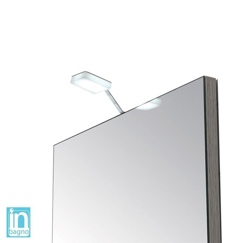 Luce Led Bagno per Specchio Doppia Installazione 4 W in Acciaio