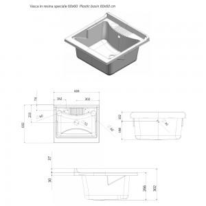 Vasca in Resina Ricambio Lavatoio 60x60 cm Compatibile con diversi Lavatoio