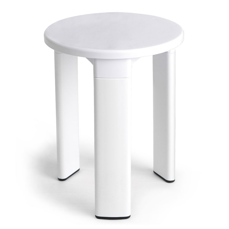 Sgabello Bianco da Bagno Design Moderno Portata 80 Kg con Piedini Antiscivolo
