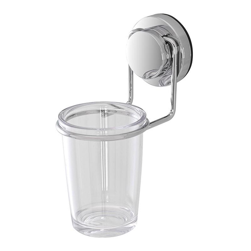 Porta Spazzolino in Acciaio e Plastica con Ventosa per il Bagno