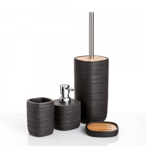 Serie d'Appoggio Nera con Elegante inserto in Legno Bambu