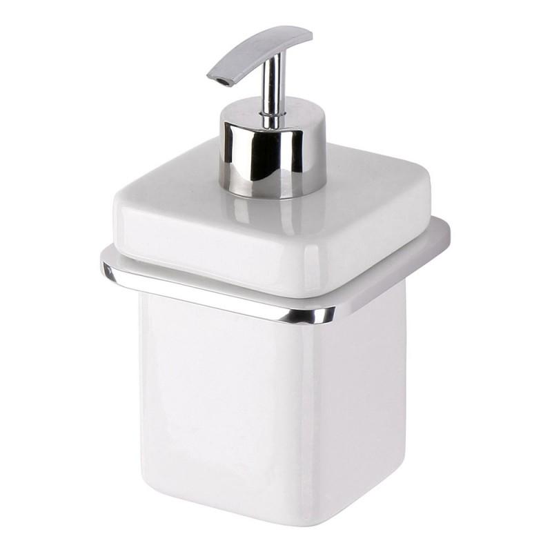 Dispenser Sapone Liquido a muro Alluminio e Ceramica Moderno ed Elegante
