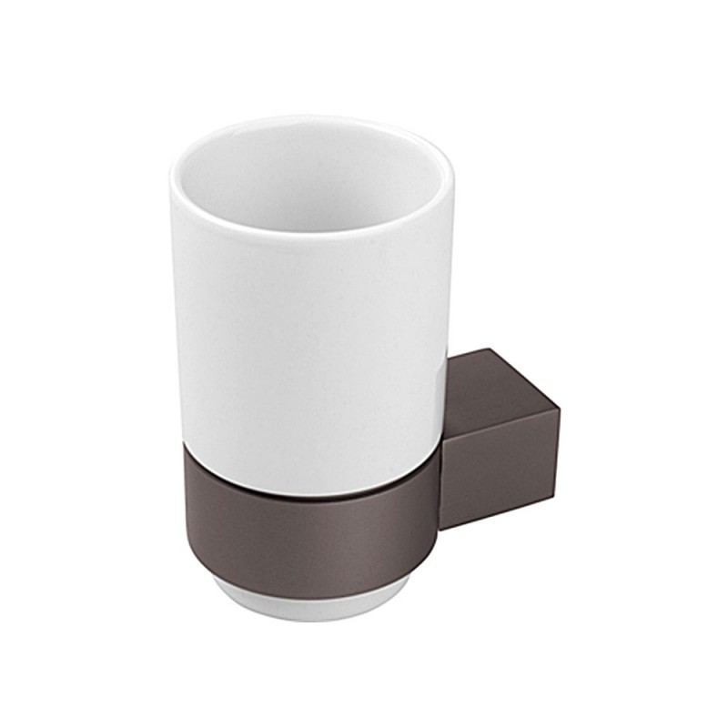 Bicchiere Portaspazzolini Grigio Opaco in Alluminio Anodizzato e Ceramica