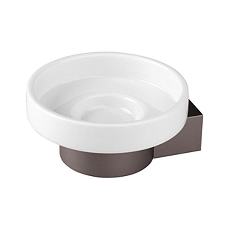 Portasapone Bagno Grigio in Alluminio con piattino in Ceramica Design Moderno