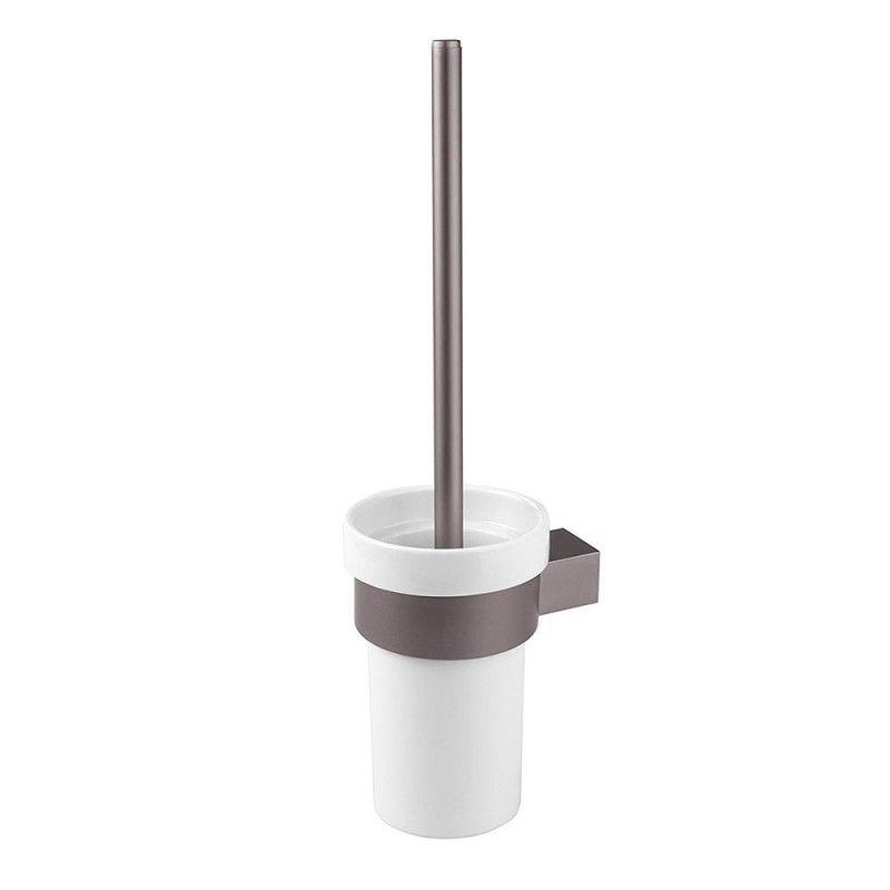 Portascopino WC Moderno Grigio in Alluminio Opaco Scopino con Setole Nere