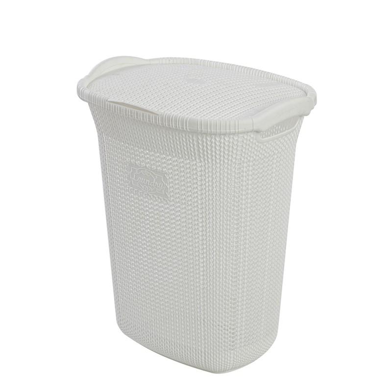 Portabiancheria da Bagno in Plastica Bianco 65 litri per Arredo Lavanderia