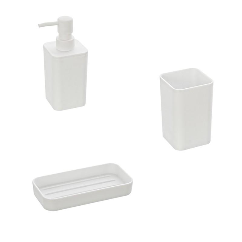 Set Composto da 3 Accessori Bagno d'Appoggio Bianco Moderno