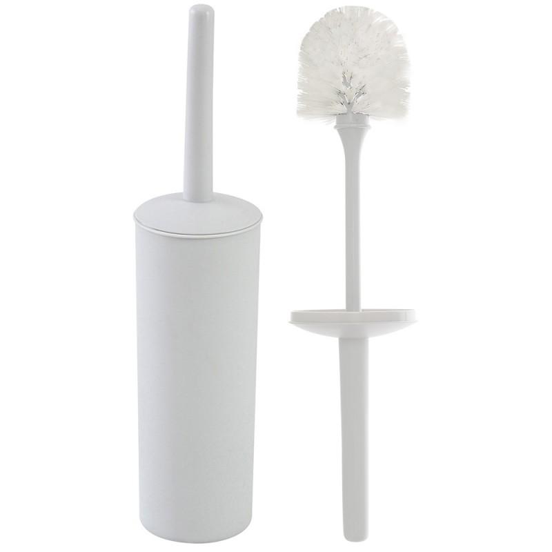 Portascopino WC Tondo da Appoggio Bianco in Plastica con Scopino