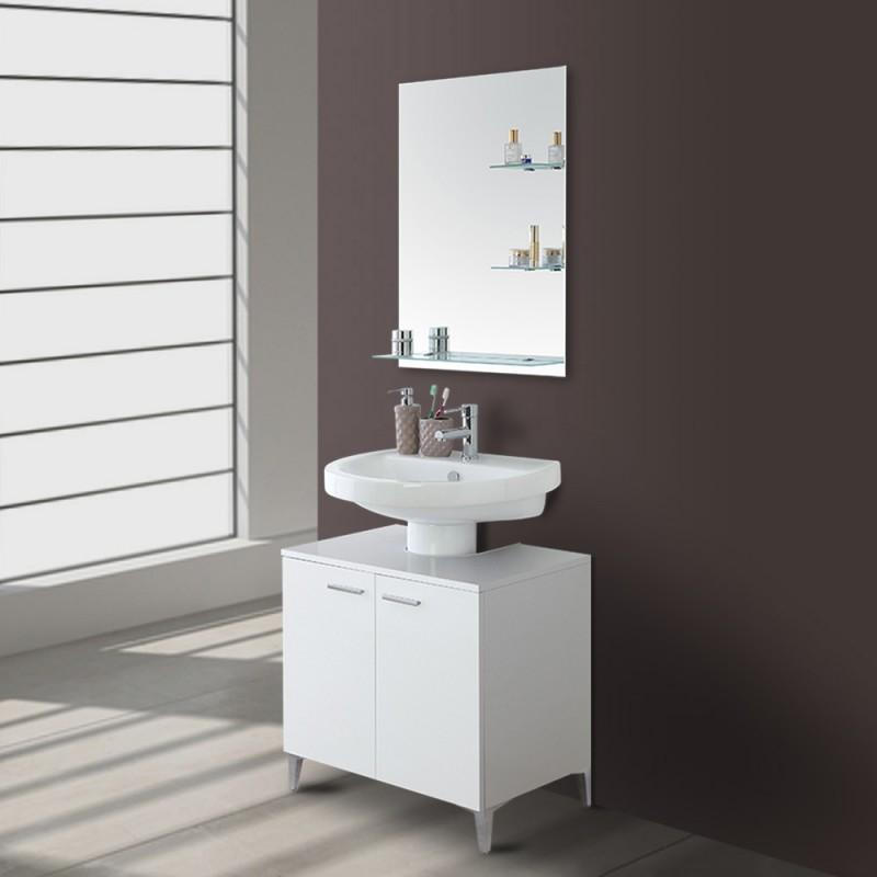 Mobile bagno Bianco copricolonna universale con 2 ante in legno L.70