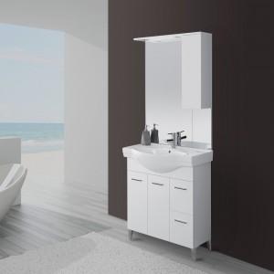 Mobile Bagno Bianco Lucido L. 82.5 cm con due ante, due cassetti e specchiera con pensile e luci
