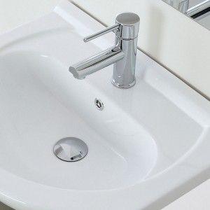 Mobile bagno in legno Bianco Lucido a 2 ante con lavabo e specchio L.56