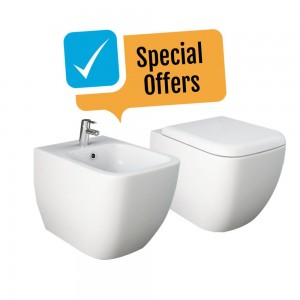 Bidet e WC filomuro RAK linea Metropolitan per bagno di design