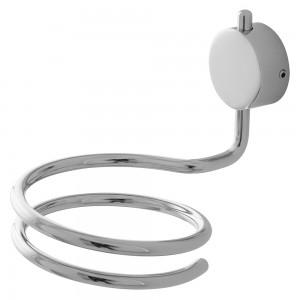 Supporto cromato per asciugacapelli con doppio sistema di fissaggio a muro