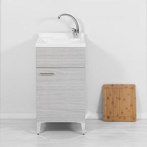 Lavatoio interno 45x50 cm con 1 anta vasca in resina e asse lavapanni