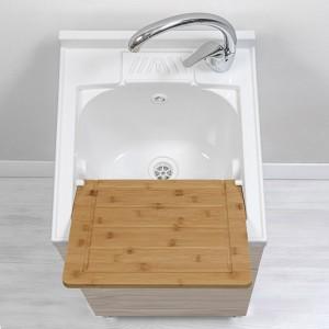 lavatoio in legno con asse strofinatoio larice