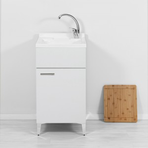 Mobile Lavatoio bianco con vasca lavapanni e asse