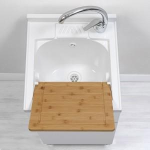 arredo lavanderia con lavatoio bianco lucido 45 cm