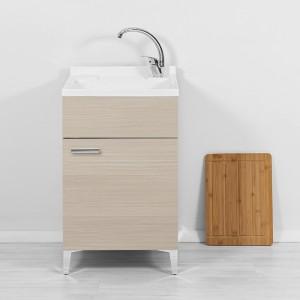 Mobile Lavatoio 50 cm larice con asse e vaschetta lavapanni
