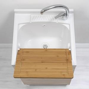 mobiletto lavapanni con vaschetta ed asse in resina