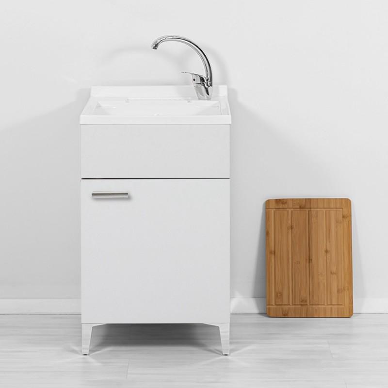 Mobile lavatoio bianco lucido 50 cm moderno completo di asse