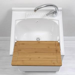 mobile lavanderia bianco lucido 50 cm completo di vaschetta