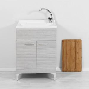 Mobili lavatoio con vasca e asse in legno grigio